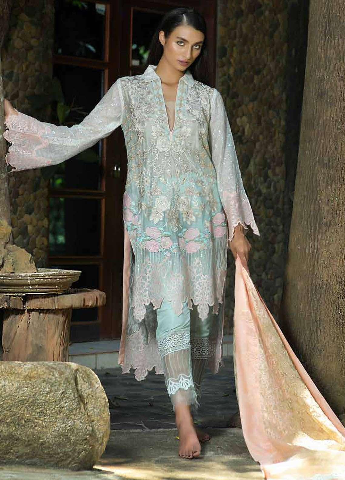 Zunuj Embroidered Cotton Net Unstitched 3 Piece Suit ZJ18F 03 - Eid Collection