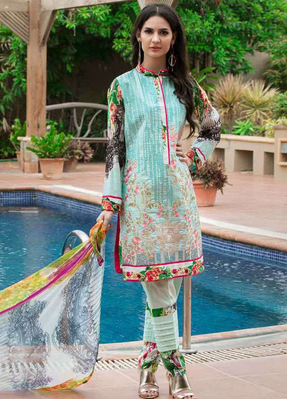 Zara Khan Embroidered Lawn Unstitched 3 Piece Suit ZK18L 6B - Spring Collection
