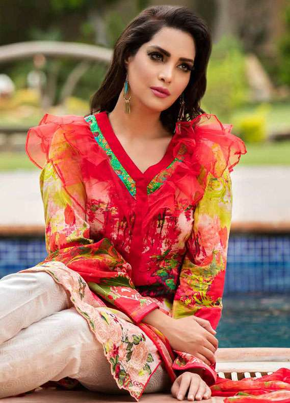 Zara Khan Embroidered Lawn Unstitched 3 Piece Suit ZK18L 7A - Spring Collection
