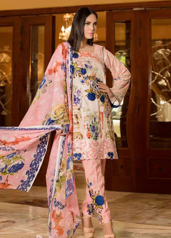 Zara Khan Embroidered Lawn Unstitched 3 Piece Suit ZK18L 8A - Spring Collection