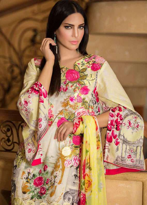 Zara Khan Embroidered Lawn Unstitched 3 Piece Suit ZK18L 8B - Spring Collection