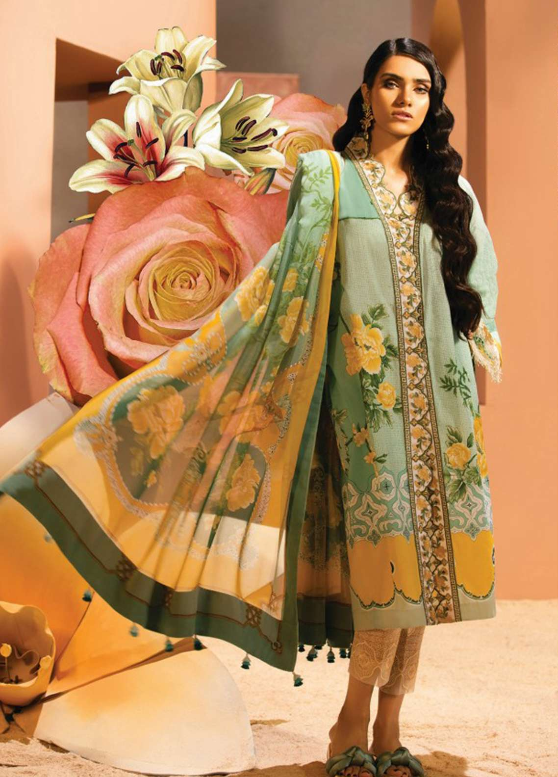 Zaha by Khadijah Shah Embroidered Lawn Unstitched 3 Piece Suit ZKS18L 14B - Summer Collection