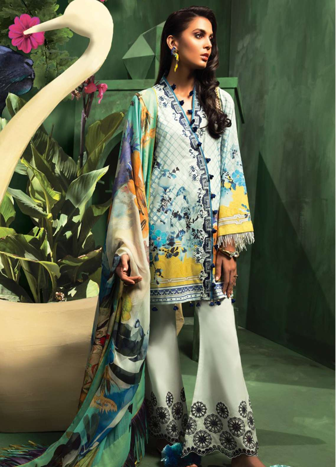 Zaha by Khadijah Shah Embroidered Lawn Unstitched 3 Piece Suit ZKS18L 16A - Summer Collection