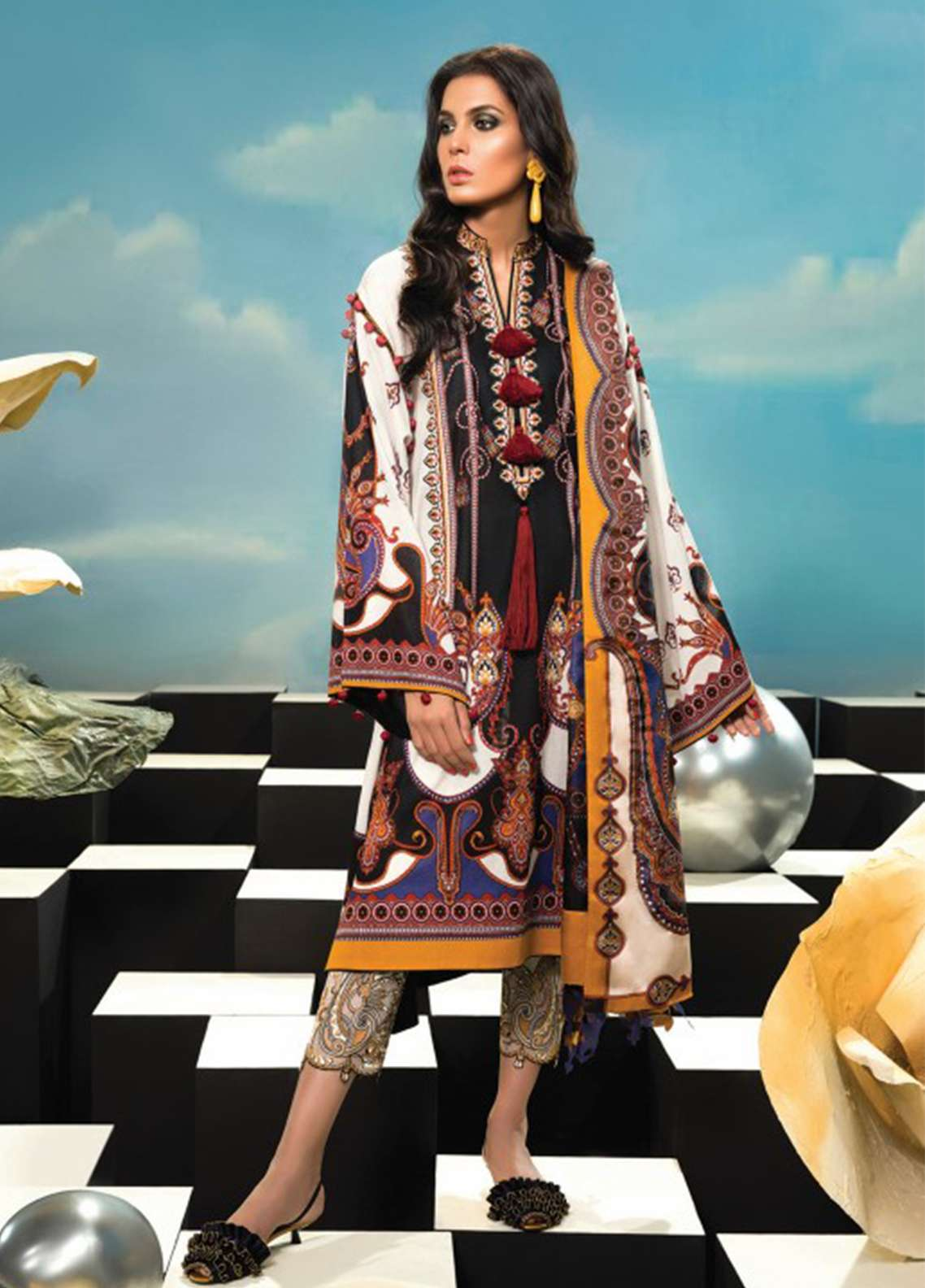 Zaha by Khadijah Shah Embroidered Lawn Unstitched 3 Piece Suit ZKS18L 17A - Summer Collection