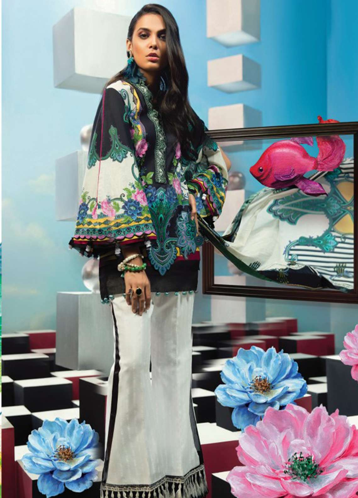 Zaha by Khadijah Shah Embroidered Lawn Unstitched 3 Piece Suit ZKS18L 18A - Summer Collection