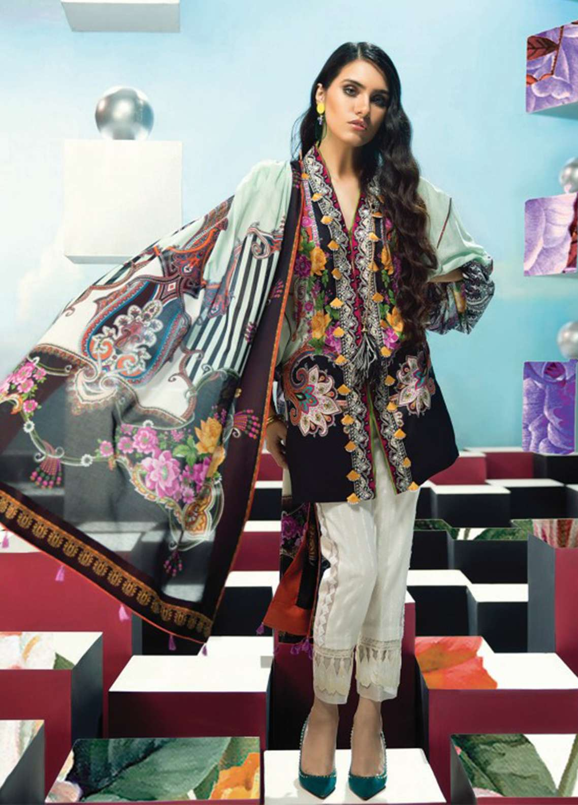 Zaha by Khadijah Shah Embroidered Lawn Unstitched 3 Piece Suit ZKS18L 18B - Summer Collection