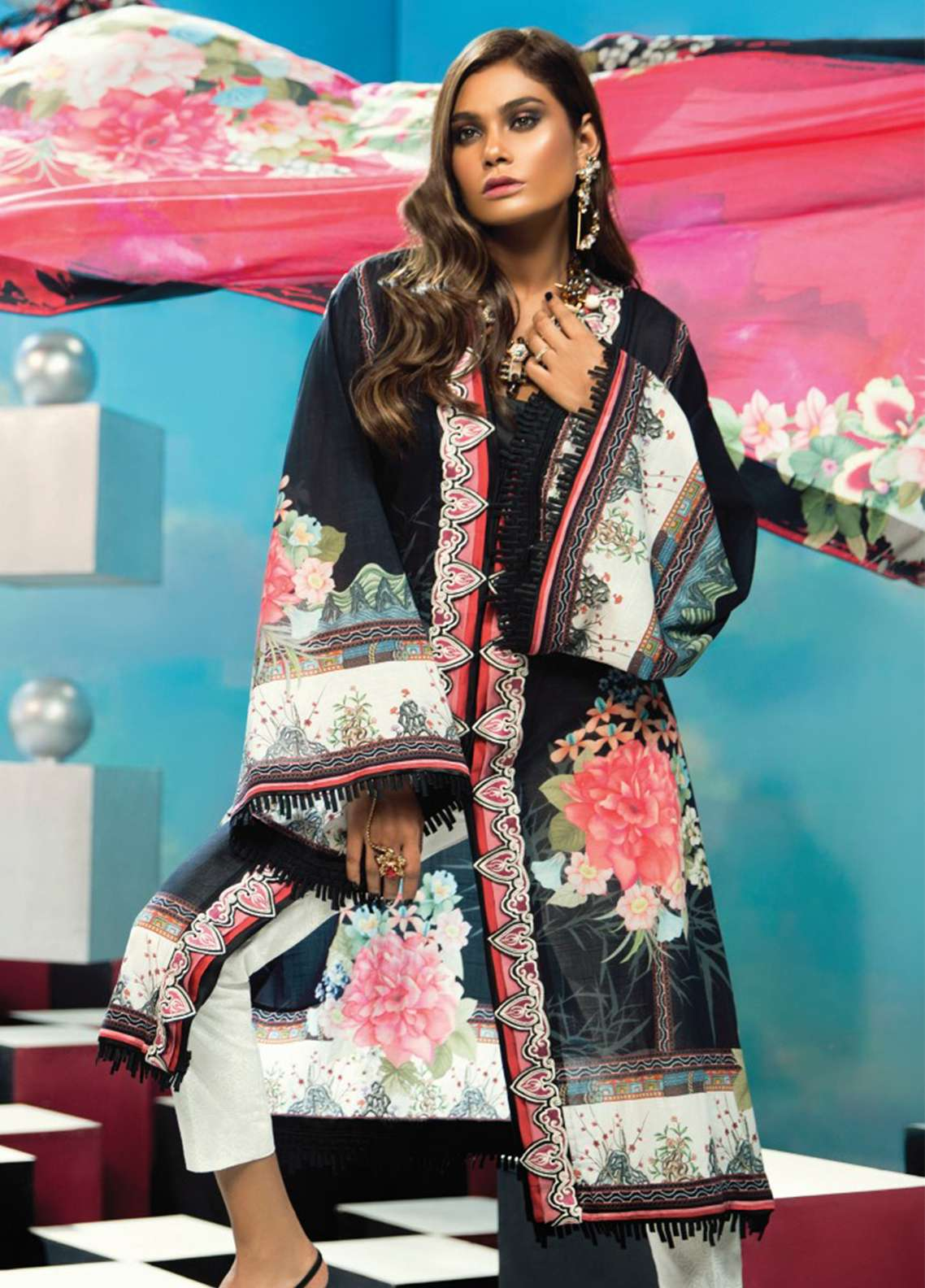 Zaha by Khadijah Shah Embroidered Lawn Unstitched 3 Piece Suit ZKS18L 20A - Summer Collection
