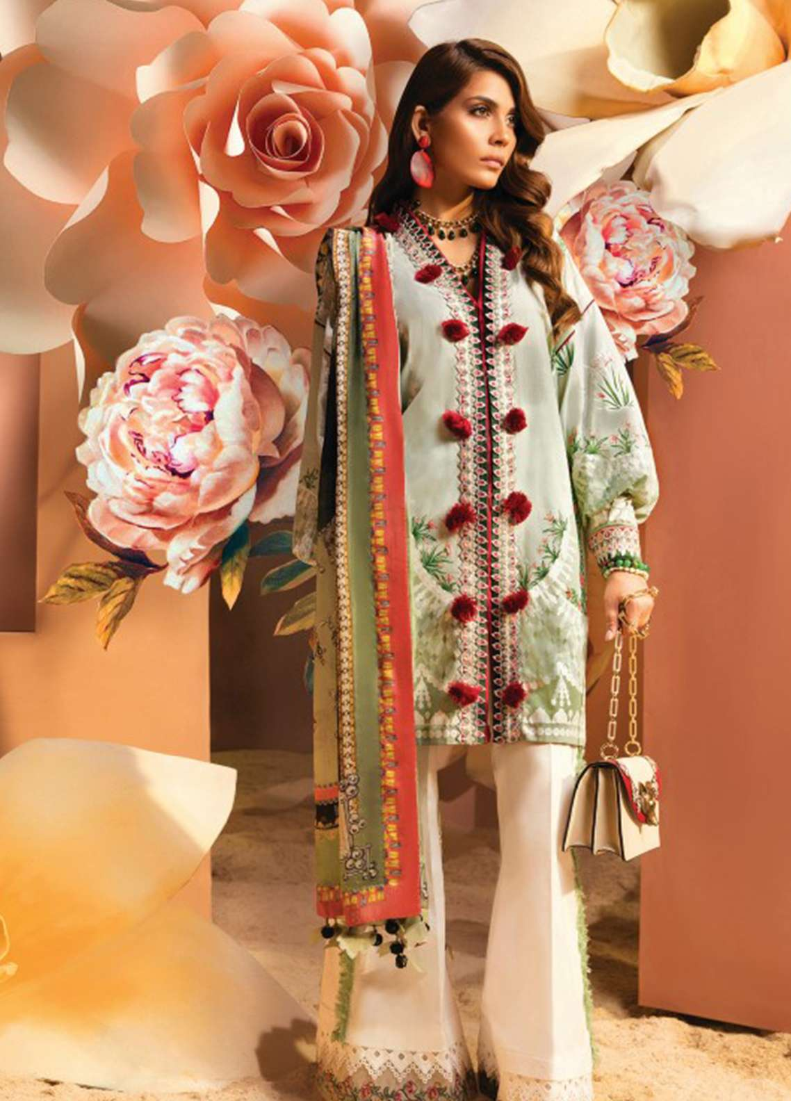 Zaha by Khadijah Shah Embroidered Lawn Unstitched 3 Piece Suit ZKS18L 22A - Summer Collection