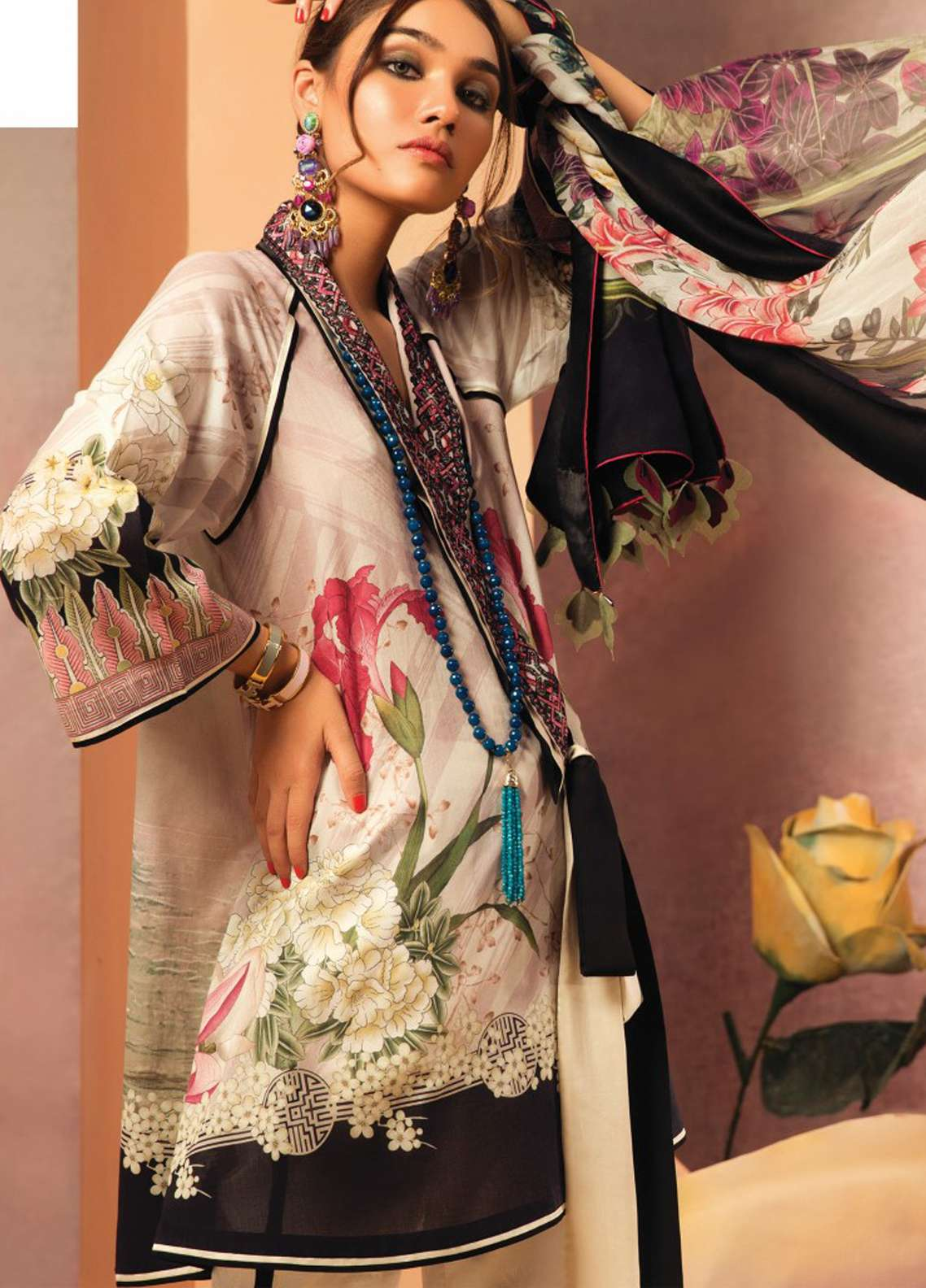 Zaha by Khadijah Shah Embroidered Lawn Unstitched 3 Piece Suit ZKS18L 24B - Summer Collection