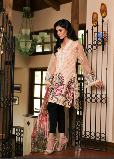 Veena Durrani Embroidered Chiffon Unstitched 2 Piece Suit ZO17C 10A