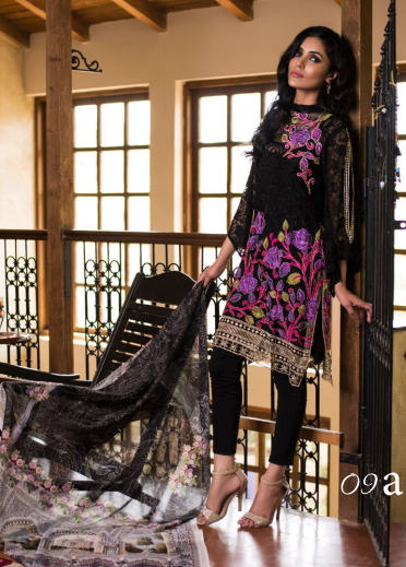 Veena Durrani Embroidered Chiffon Unstitched 2 Piece Suit ZO17C 9A