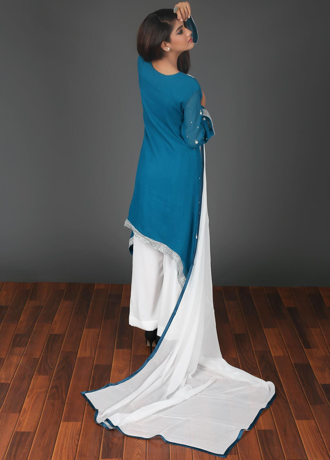 Zoonaj Embroidered Chiffon Stitched 3 Piece Suit Blue ZF 187