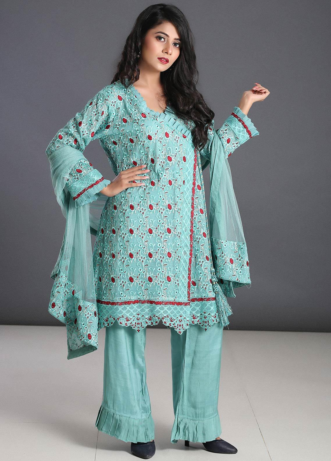 Zoonaj Embroidered Qasbi Net Stitched 3 Piece Suit ZF-196 Light Green