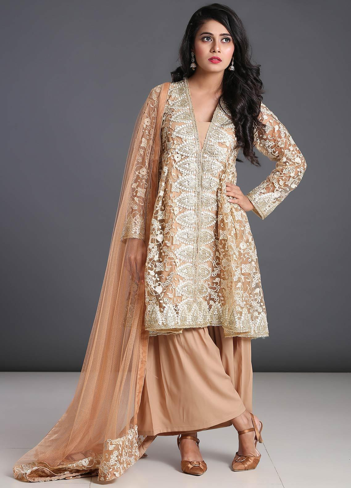 Zoonaj Embroidered Zari Net Stitched 3 Piece Suit ZF-200 Camel Brown