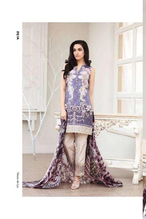 Zarqash Embroidered Lawn Unstitched 3 Piece Suit ZQ17L 1A