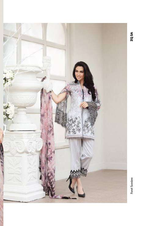 Zarqash Embroidered Lawn Unstitched 3 Piece Suit ZQ17L 3A