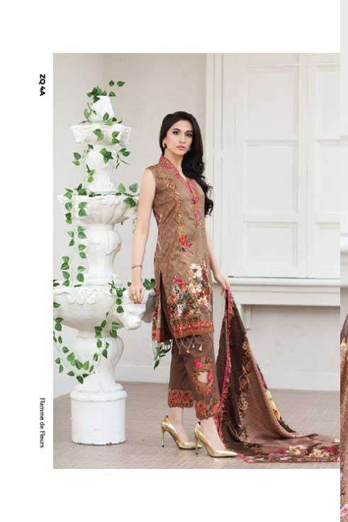 Zarqash Embroidered Lawn Unstitched 3 Piece Suit ZQ17L 4A