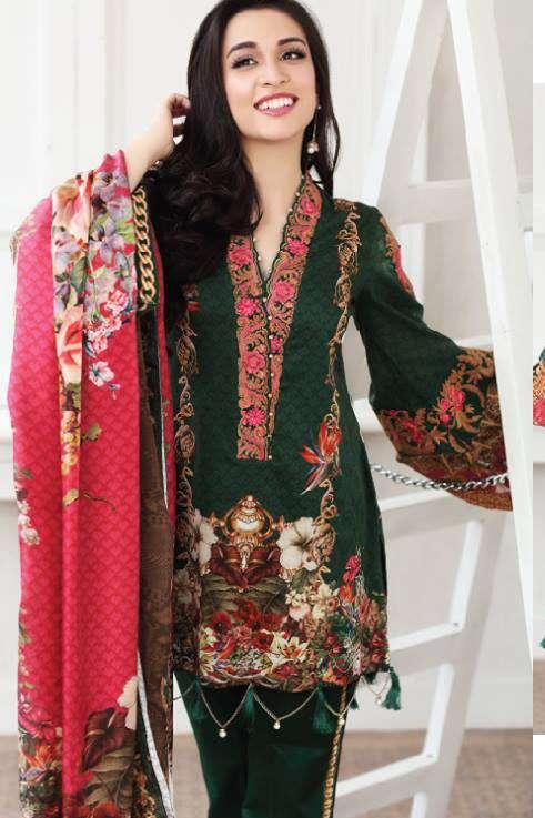 Zarqash Embroidered Lawn Unstitched 3 Piece Suit ZQ17L 4B