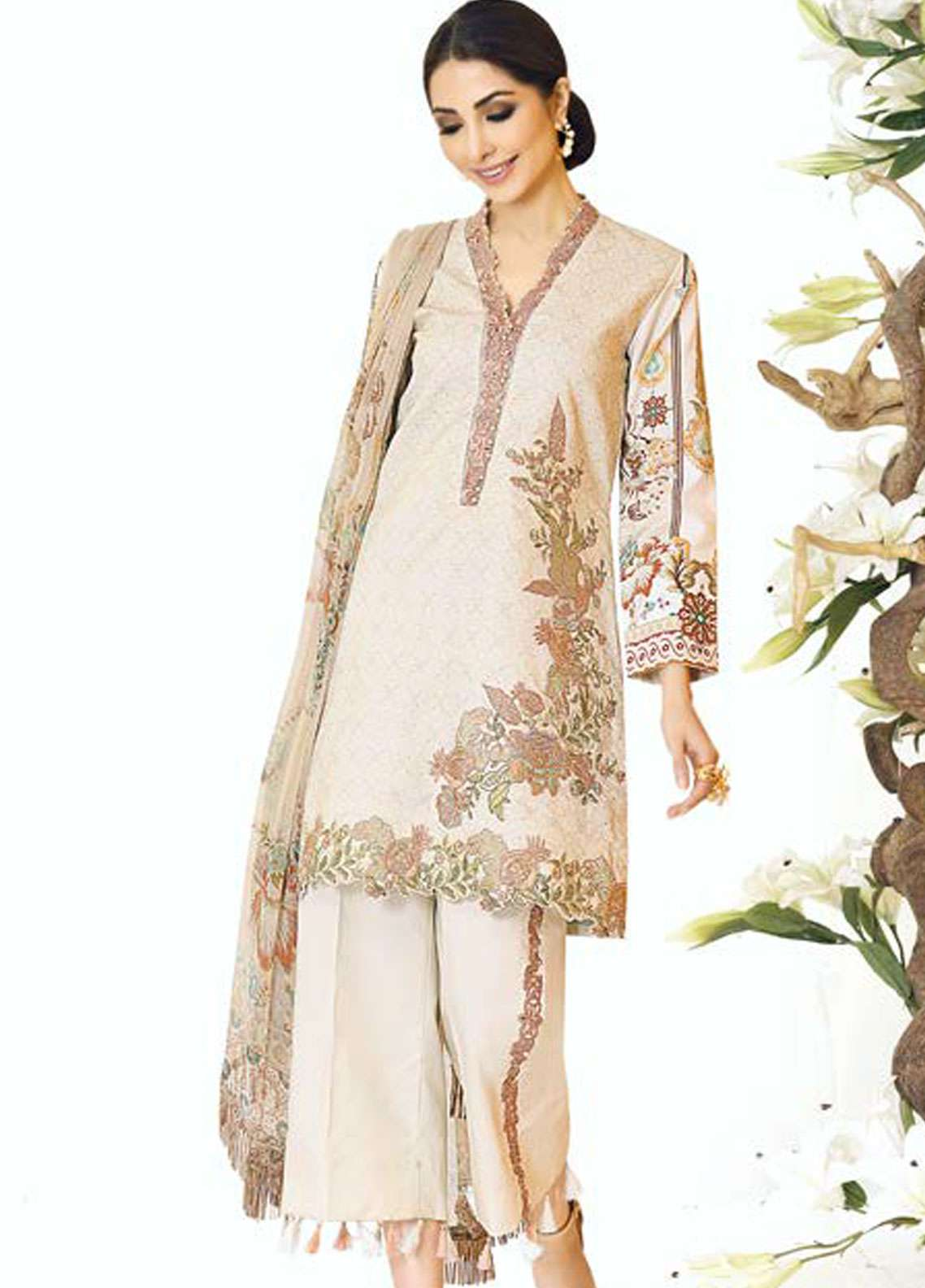 Zarqash Embroidered Lawn Unstitched 3 Piece Suit ZQ18L 10B - Spring / Summer Collection