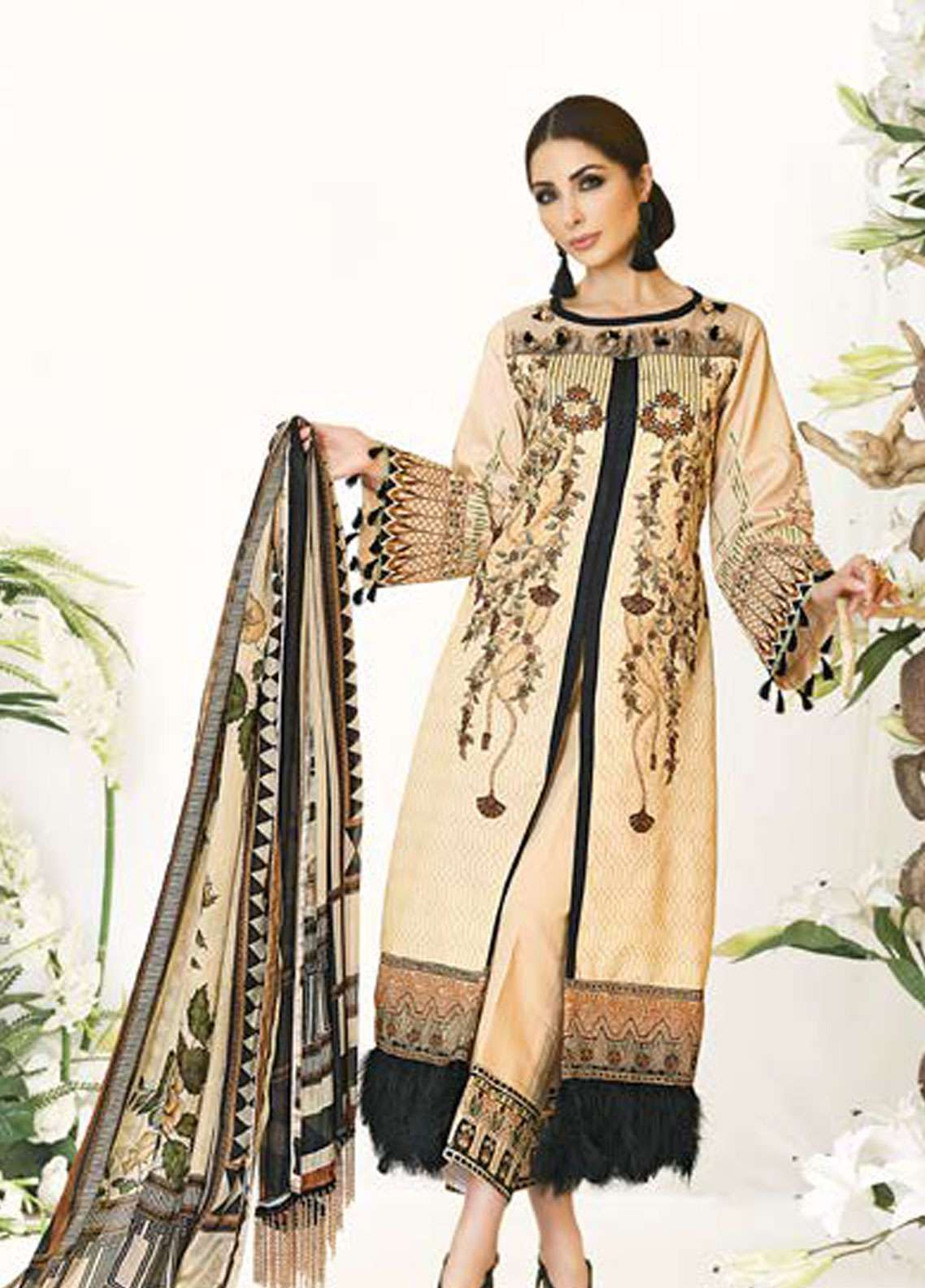 Zarqash Embroidered Lawn Unstitched 3 Piece Suit ZQ18L 9B - Spring / Summer Collection