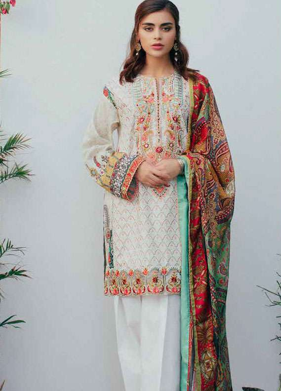 61cfc807b0 Zara Shahjahan Embroidered Lawn Unstitched 3 Piece Suit ZSJ18L PASHMINA B -  Spring / Summer Collection