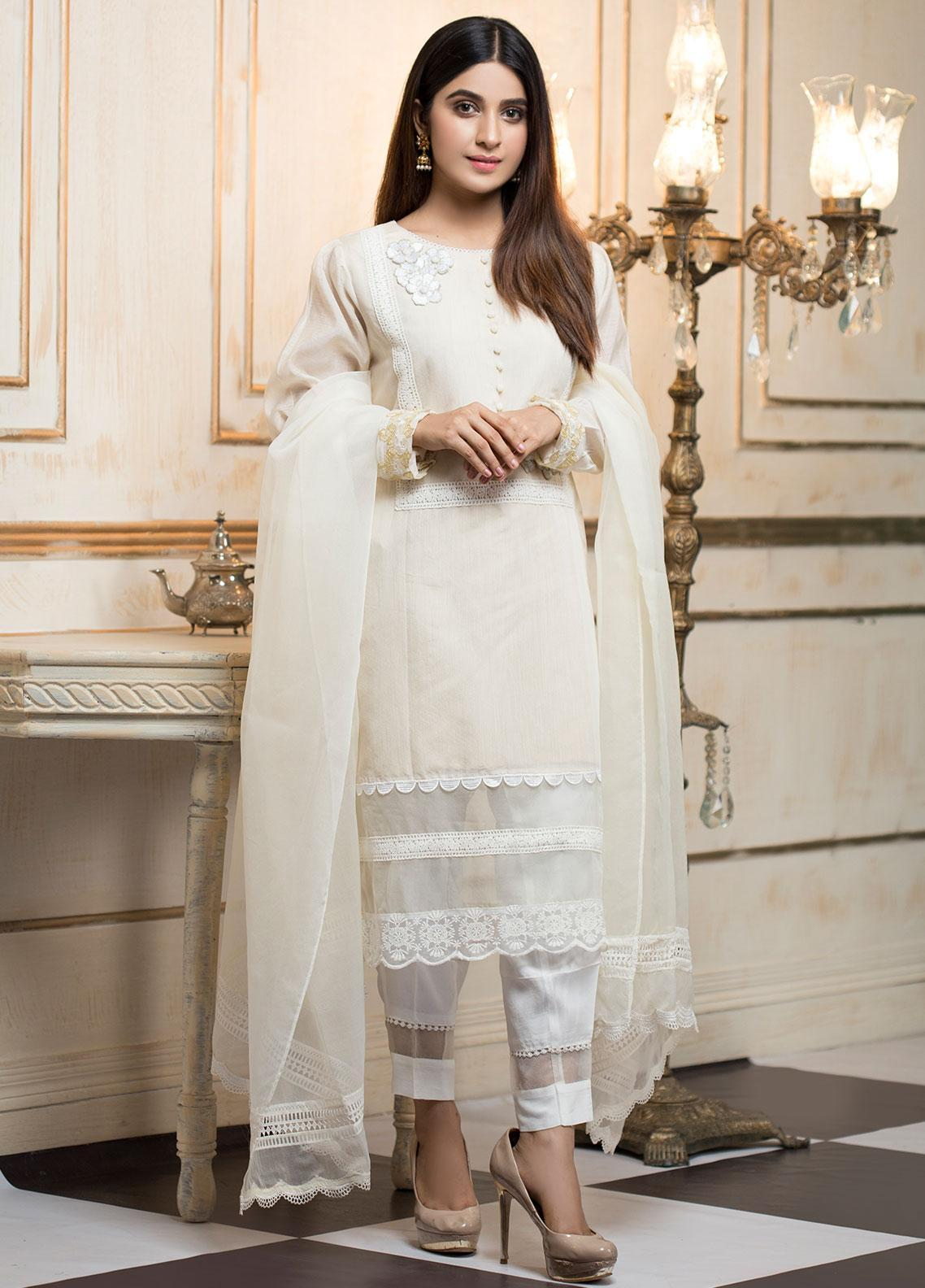 Zujaaj Embroidered Cotton Silk Stitched 3 Piece Suit ZJ-147 Beige