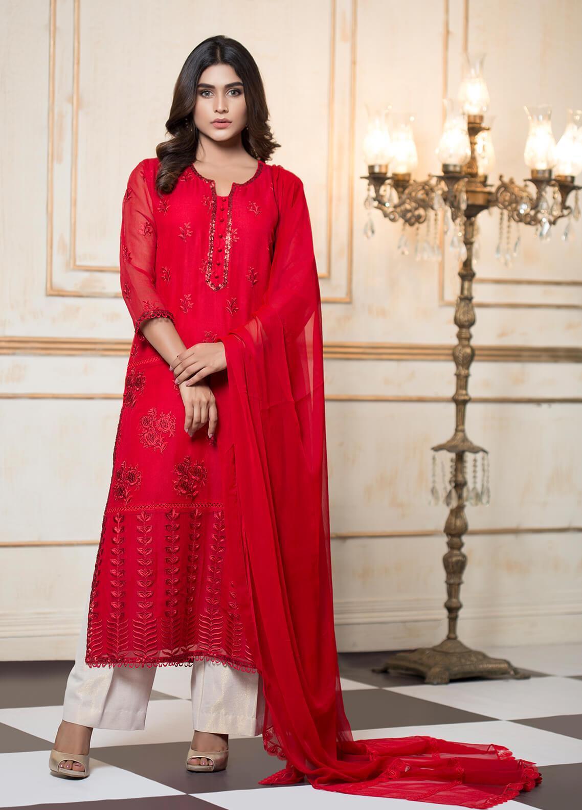 Zujaaj Embroidered Chiffon Stitched 3 Piece Suit ZJ-159 Blood Red