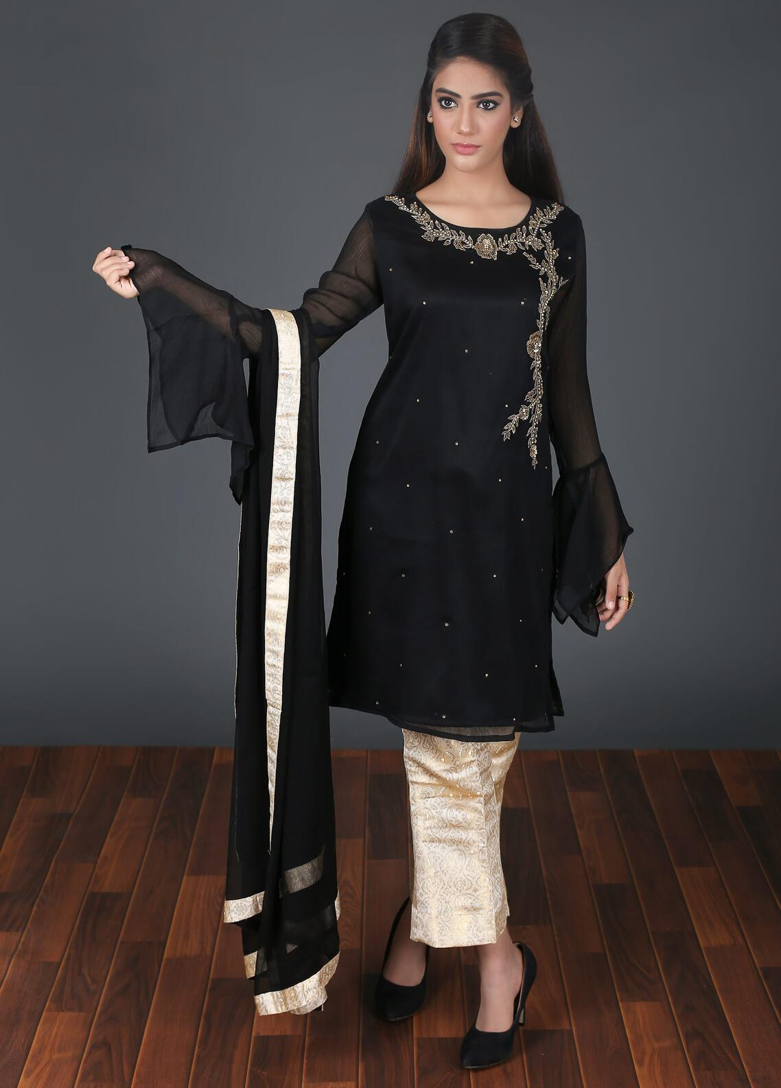 Zoonaj Embroidered Chiffon Stitched 3 Piece Suit Black ZF 169