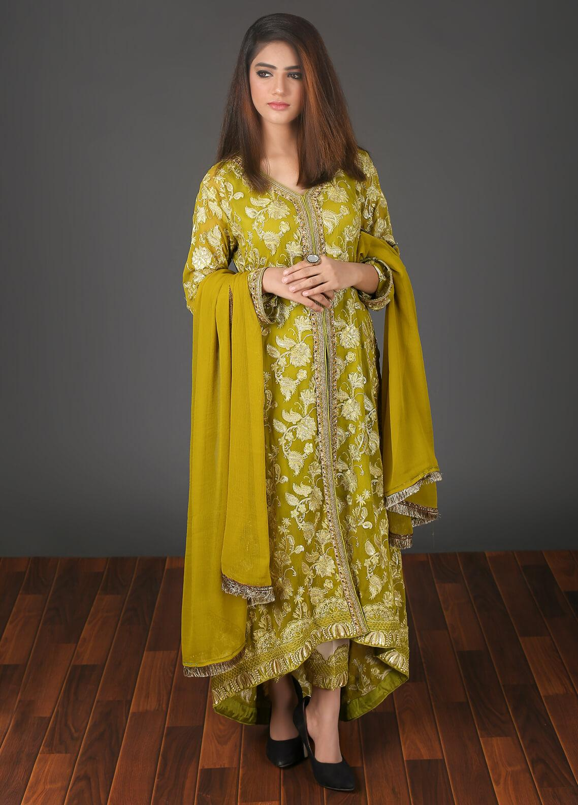 Zoonaj Embroidered Chiffon Stitched 3 Piece Suit Mustard ZF 188