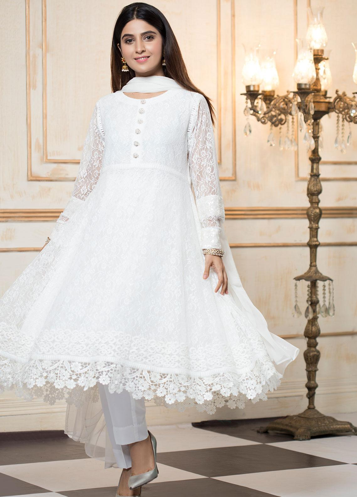 Zujaaj Embroidered Zari Net Stitched 3 Piece Suit ZJ-139 Pearl White