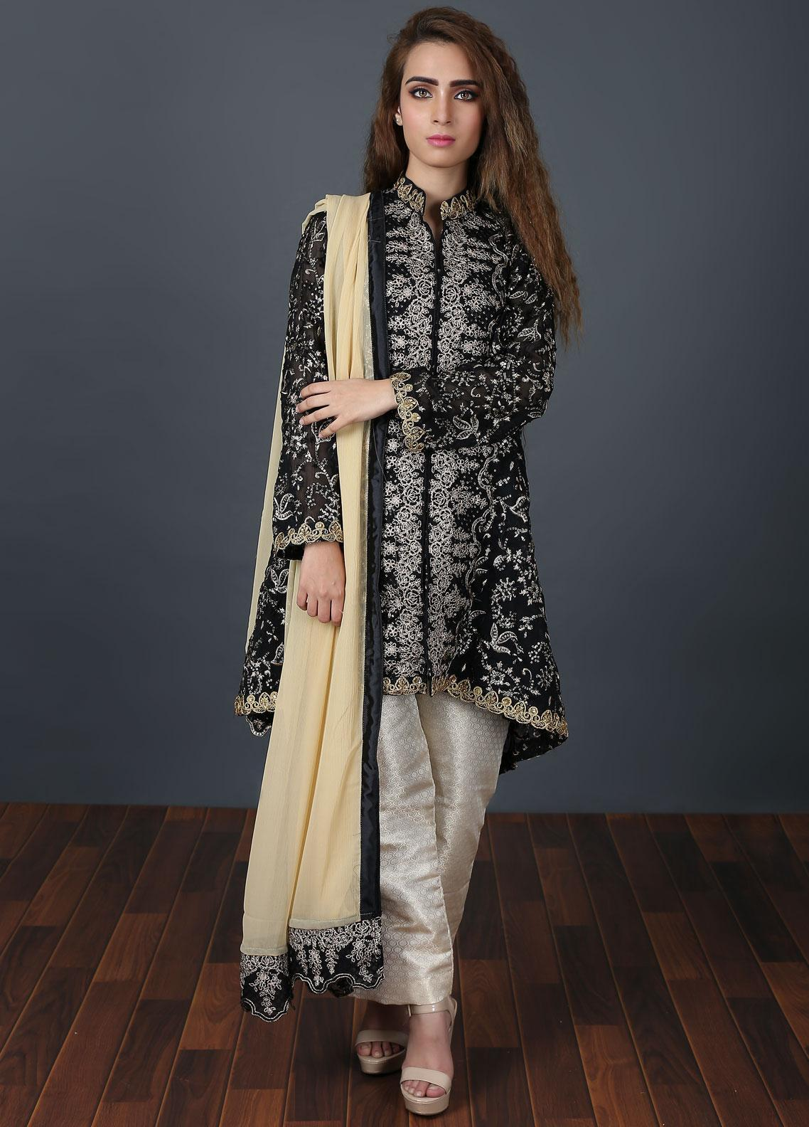 Zoonaj Embroidered Chiffon Stitched 3 Piece Suit Black ZF 154