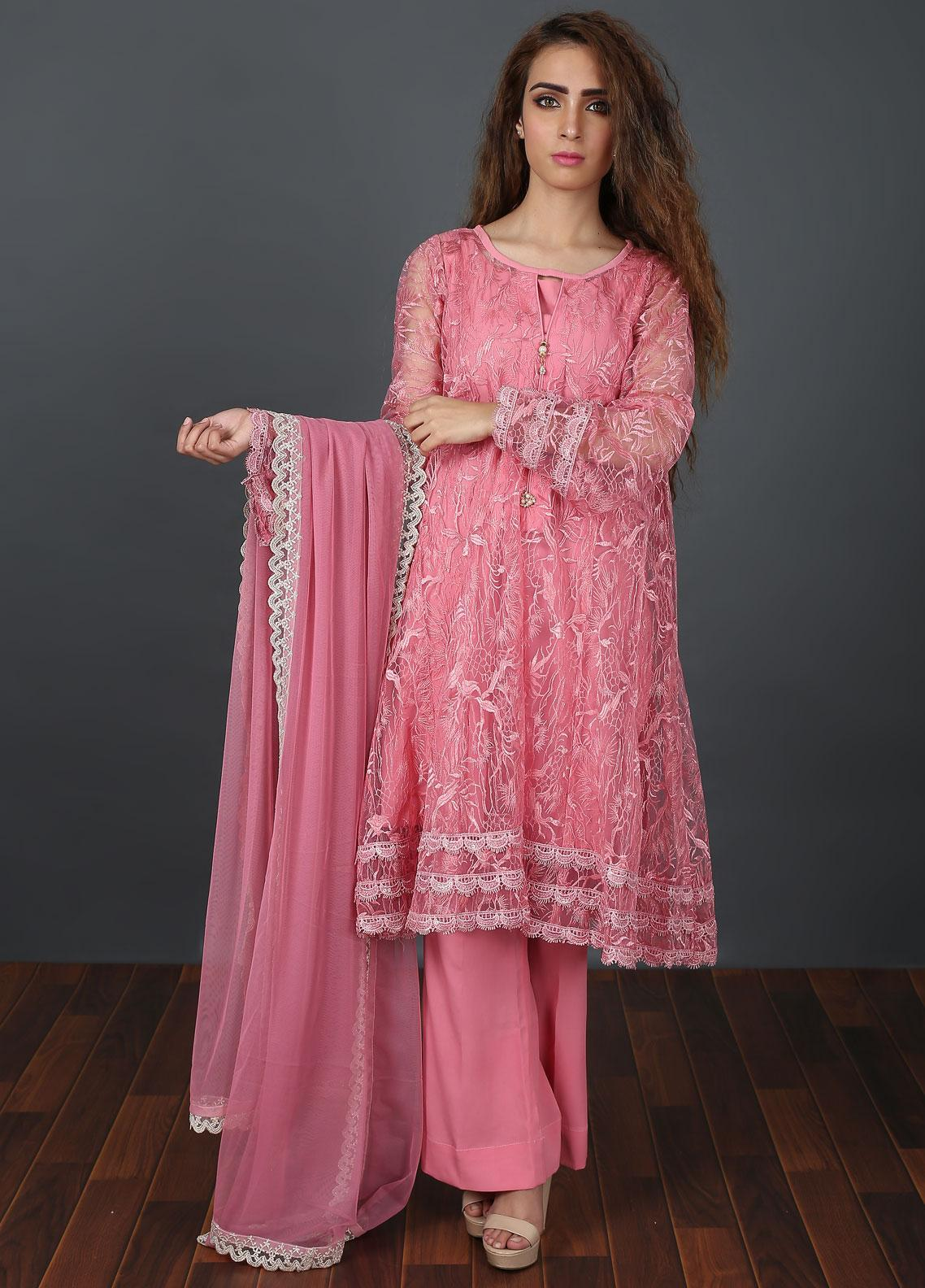 Zoonaj Embroidered Zari Net Stitched 3 Piece Suit Light Pink ZFOD 99