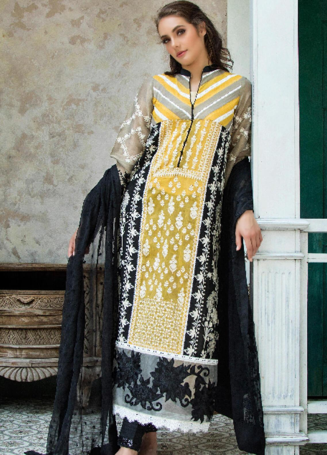 ZUNUJ Embroidered Lawn Unstitched 3 Piece Suit ZJ19F 01 - Festive Collection