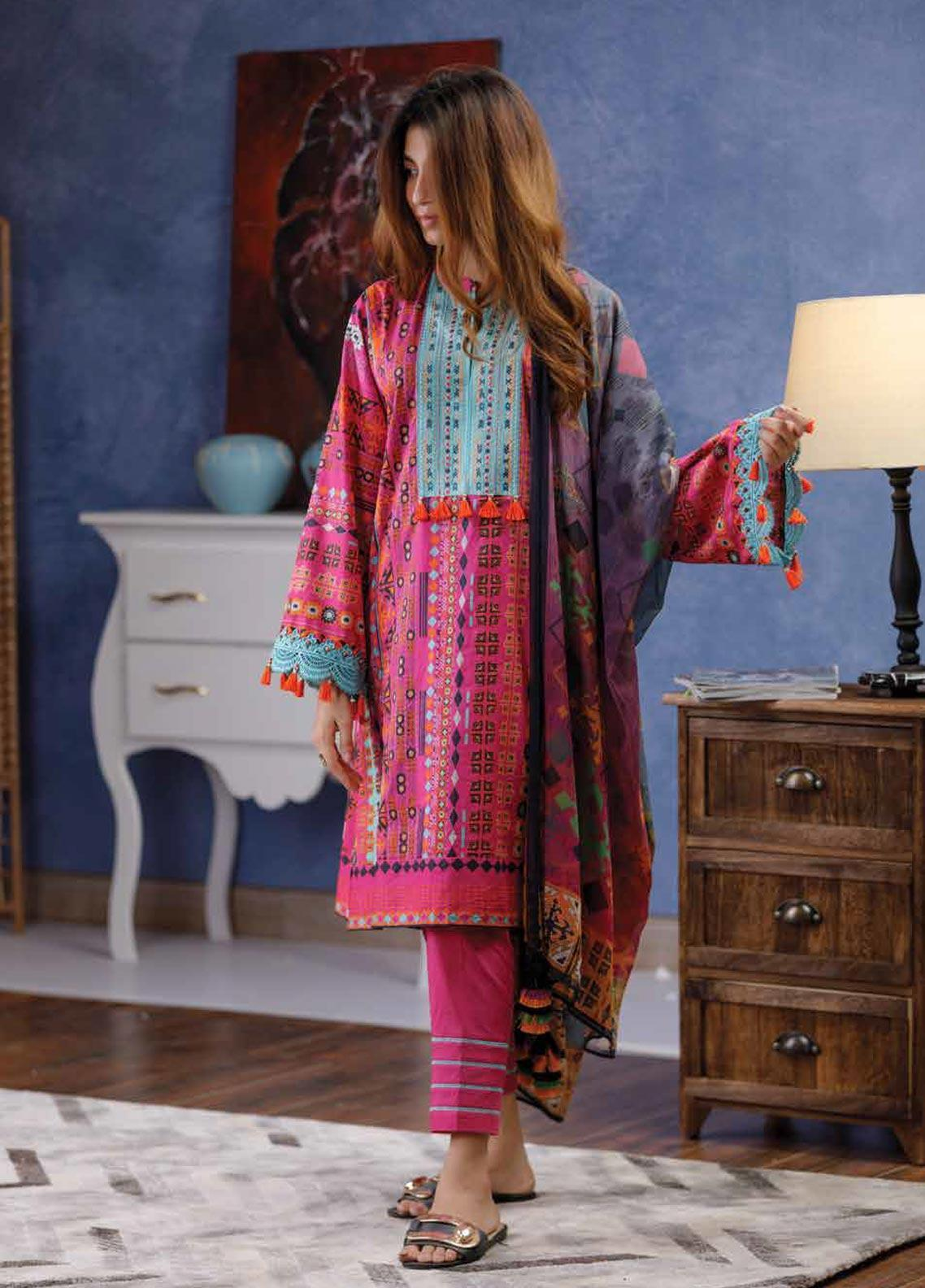 3970db84a0 Zyra by Tarzz Embroidered Lawn Unstitched 2 Piece Suit ZYT19S 3B PINK DROP  - Mid Summer Collection