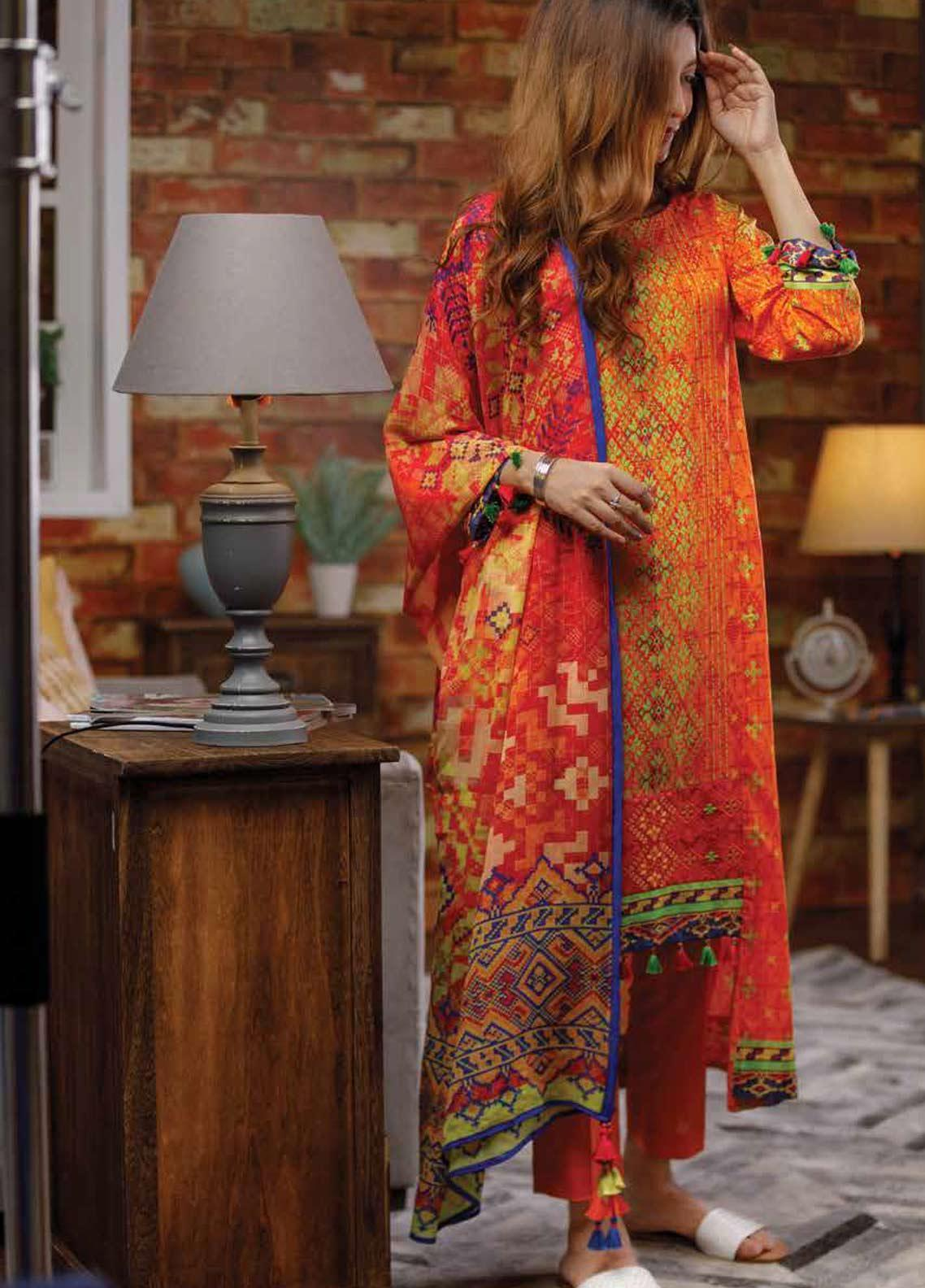 Zyra by Tarzz Embroidered Lawn Unstitched 2 Piece Suit ZYT19S 4B SWEET NECTARINE - Mid Summer Collection