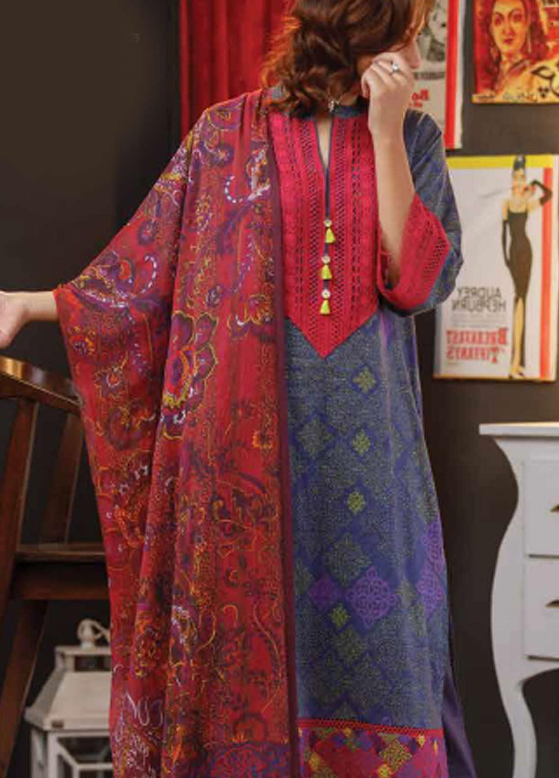 Zyra by Tarzz Embroidered Lawn Unstitched 3 Piece Suit ZYT19S 12B VIVID VOILA - Mid Summer Collection