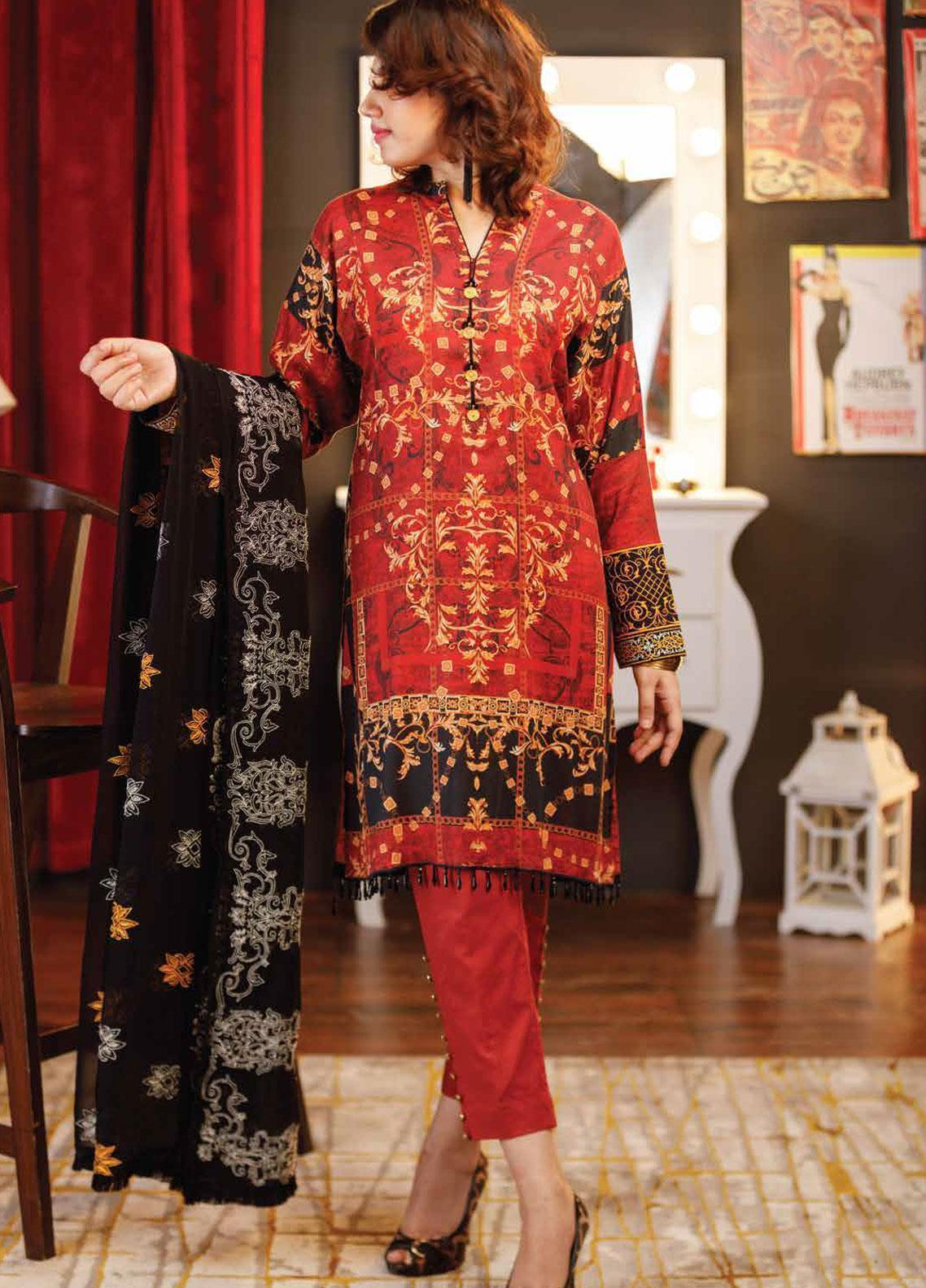 Zyra by Tarzz Embroidered Lawn Unstitched 3 Piece Suit ZYT19S 01 BITTERSWEET - Mid Summer Collection