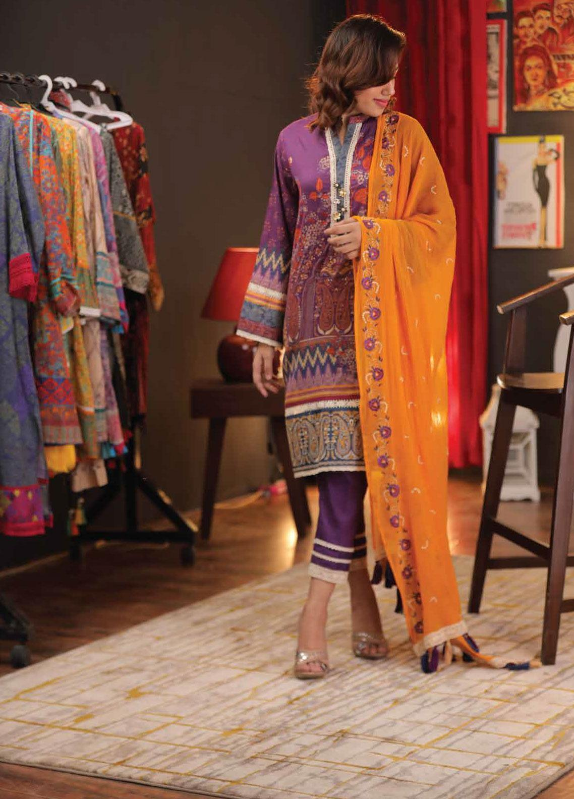 Zyra by Tarzz Embroidered Lawn Unstitched 3 Piece Suit ZYT19S 02 MAUVE CRUSH - Mid Summer Collection