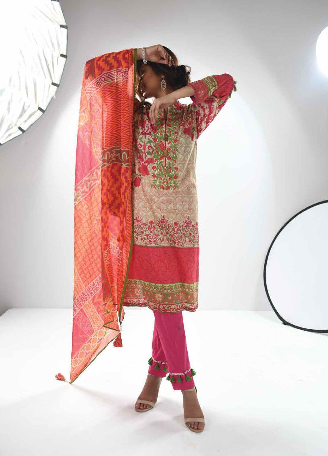 Zyra by Tarzz Embroidered Lawn Unstitched 3 Piece Suit ZYT19S 04 ROSE DUST - Mid Summer Collection