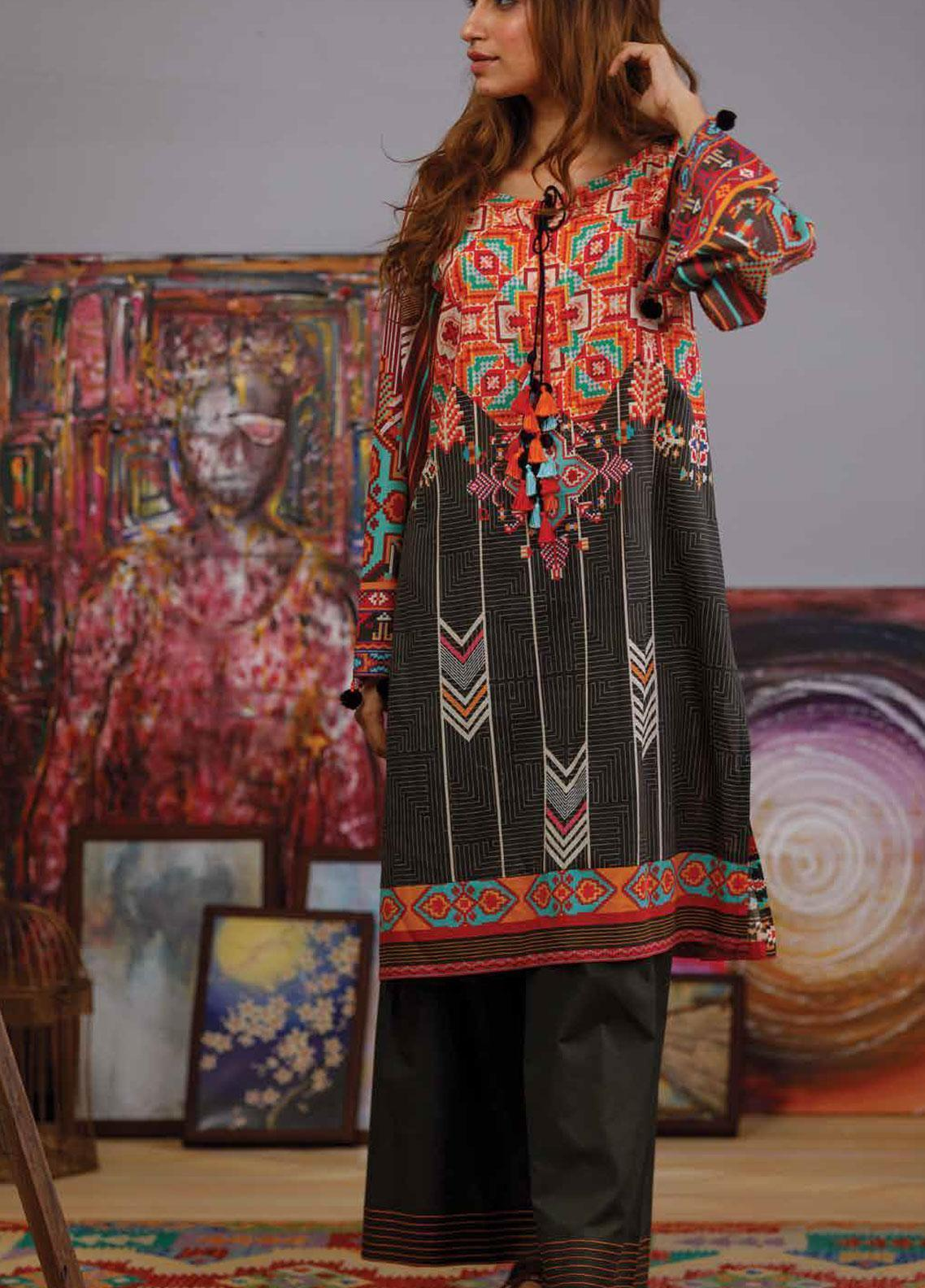 Zyra by Tarzz Printed Lawn Unstitched Kurties ZYT19S 13 STRIKING CONTOUR - Mid Summer Collection