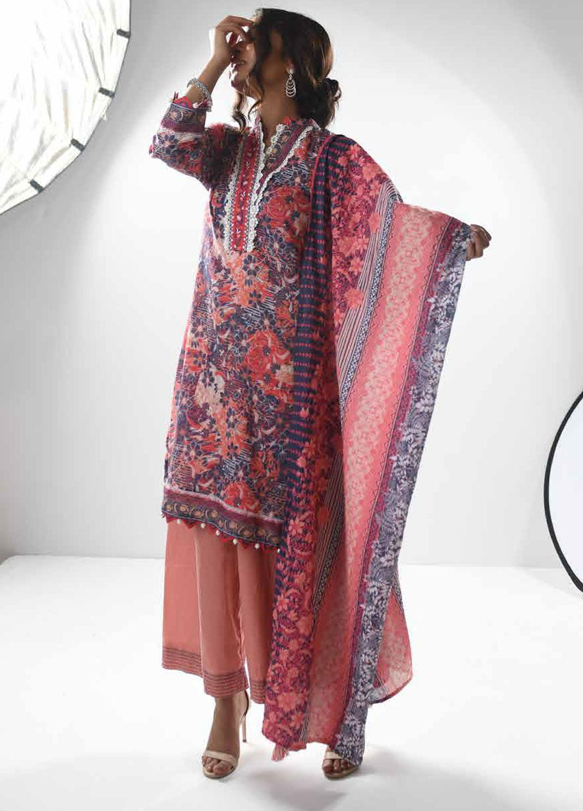 Zyra by Tarzz Embroidered Lawn Unstitched 3 Piece Suit ZYT19S 13B WILD ROSE - Mid Summer Collection