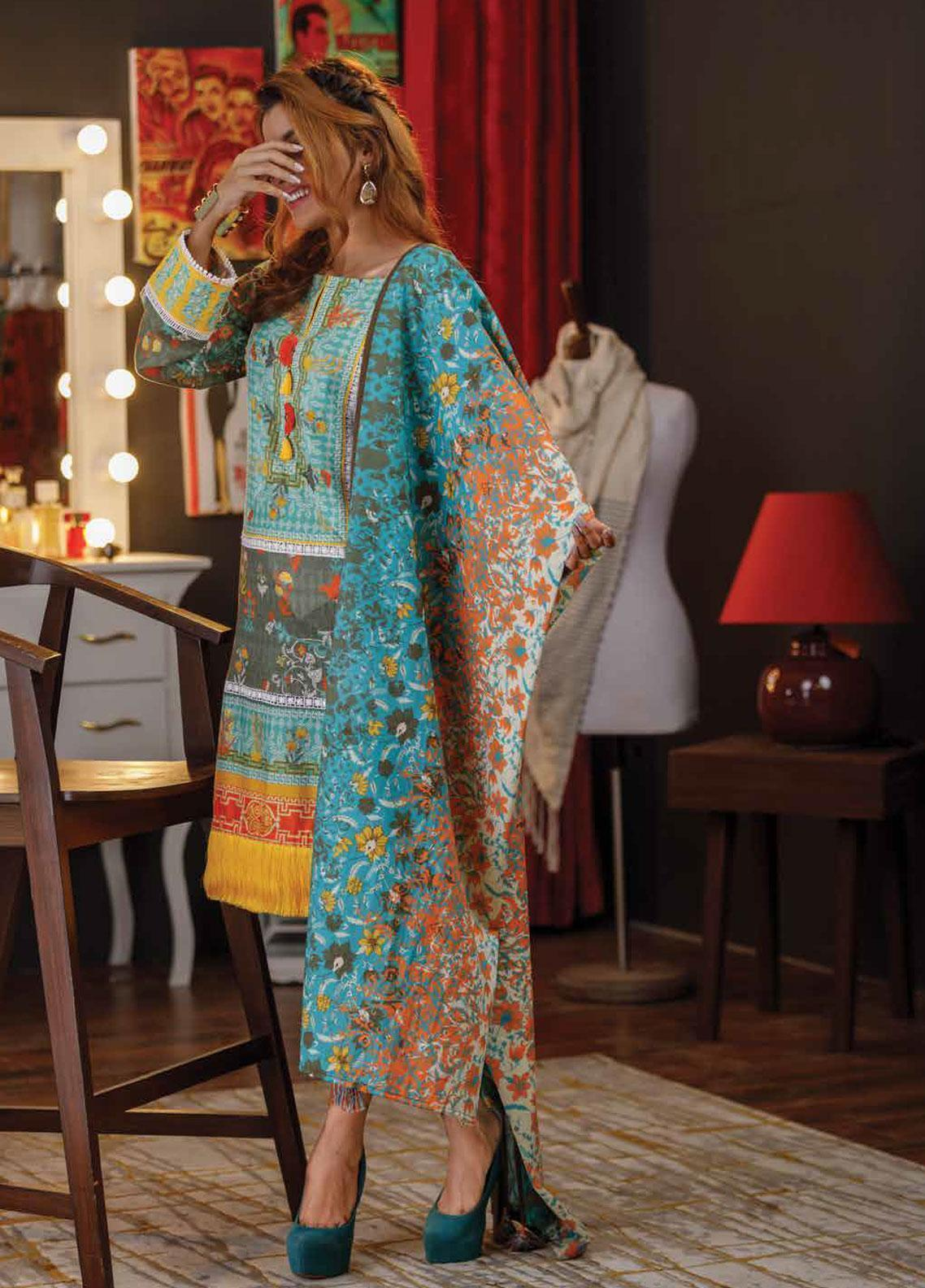 Zyra by Tarzz Embroidered Lawn Unstitched 3 Piece Suit ZYT19S 14A SERENE BLUE - Mid Summer Collection