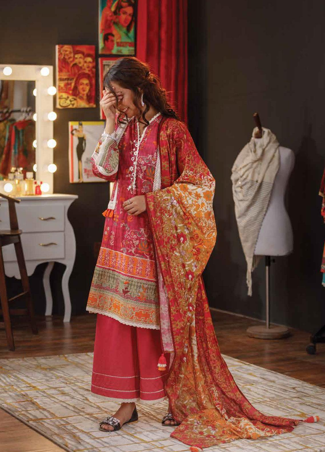 7ce6cfa34d Zyra by Tarzz Embroidered Lawn Unstitched 3 Piece Suit ZYT19S 14B CAMELLIA  - Mid Summer Collection
