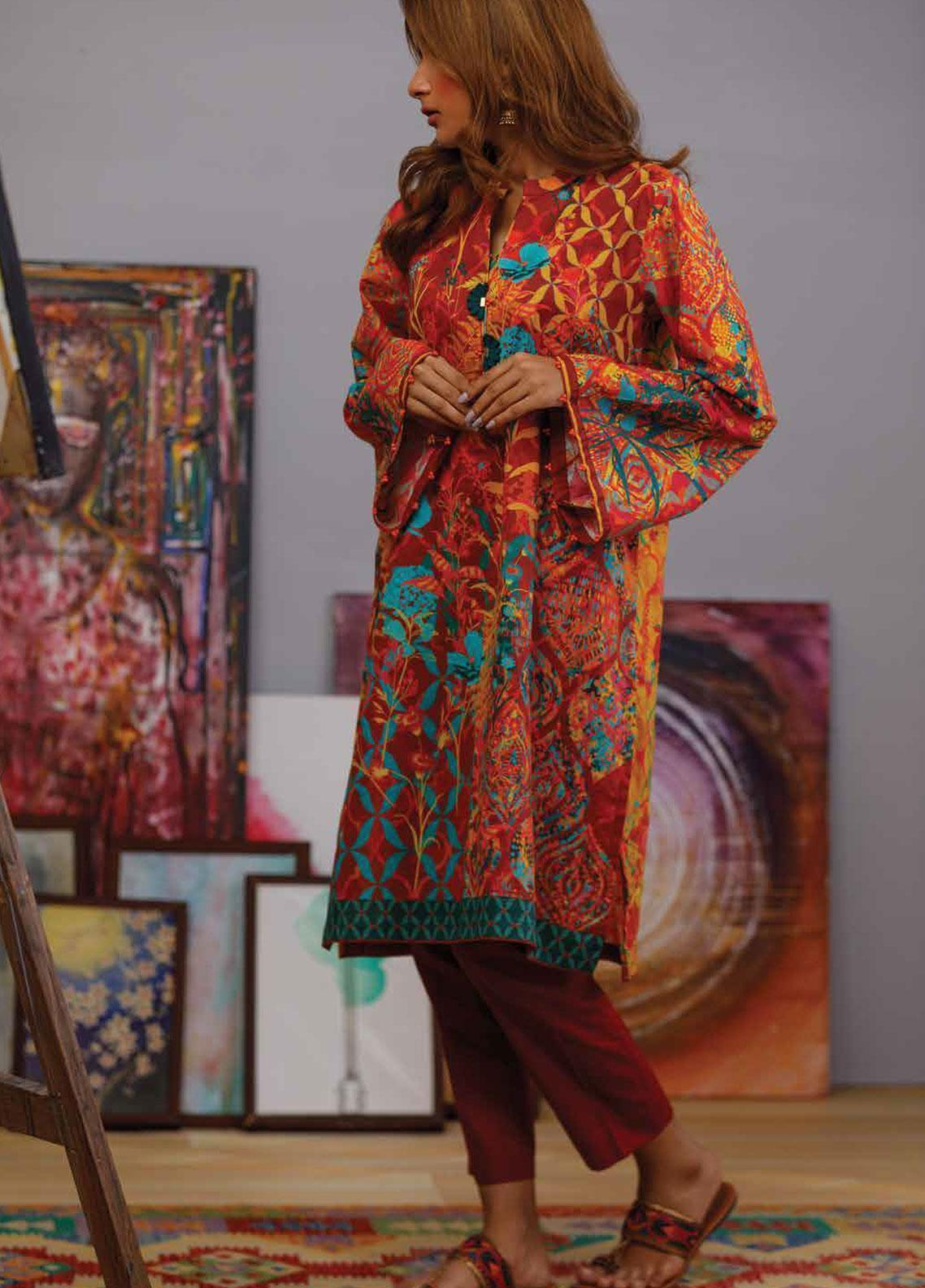 Zyra by Tarzz Printed Lawn Unstitched Kurties ZYT19S 15 ZESTY BLOOM - Mid Summer Collection
