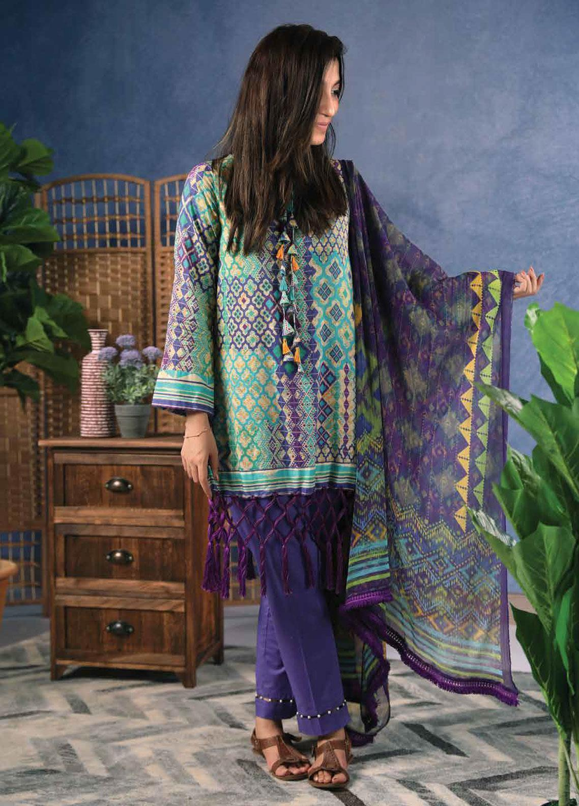 Zyra by Tarzz Printed Lawn Unstitched 2 Piece Suit ZYT19S 1A MINT POTION - Mid Summer Collection