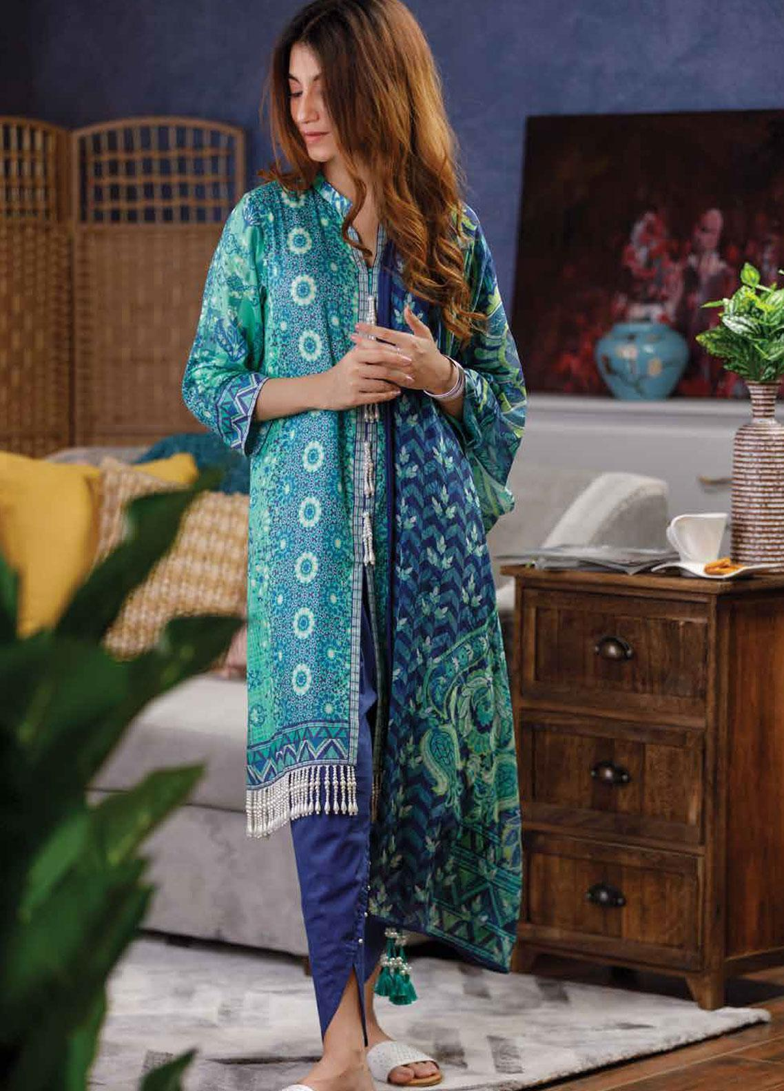 Zyra by Tarzz Printed Lawn Unstitched 2 Piece Suit ZYT19S 2A CAPRI BREEZE - Mid Summer Collection