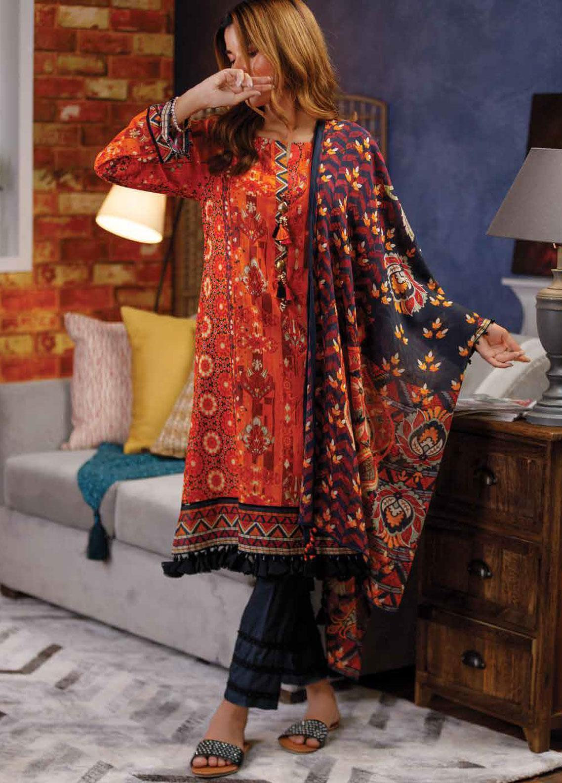 d904b9ee3e Zyra by Tarzz Printed Lawn Unstitched 2 Piece Suit ZYT19S 2B FIRECRACKER - Mid  Summer Collection